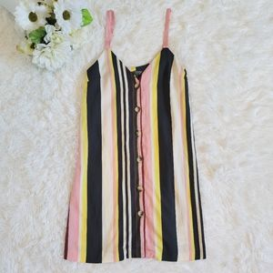Topshop Size 2 Striped Button Up Tunic Tank Blouse